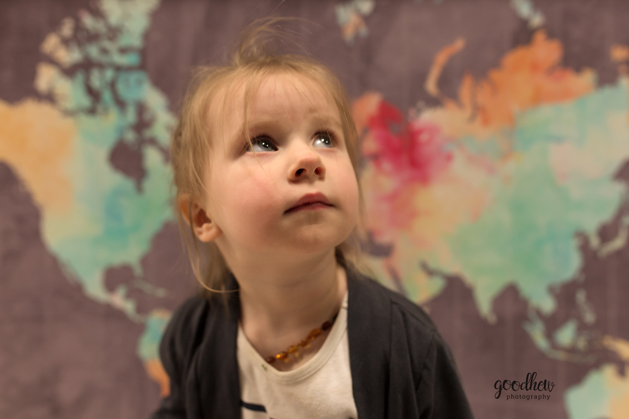 Ann Arbor Children's Portraits - #MichaelsChallenge - Little girl in front of a watercolor map